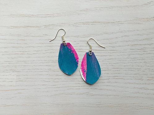 Teal Hand Painted Earrings