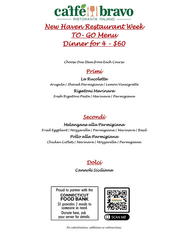 Restaurant Week TO GO Menu - September 2