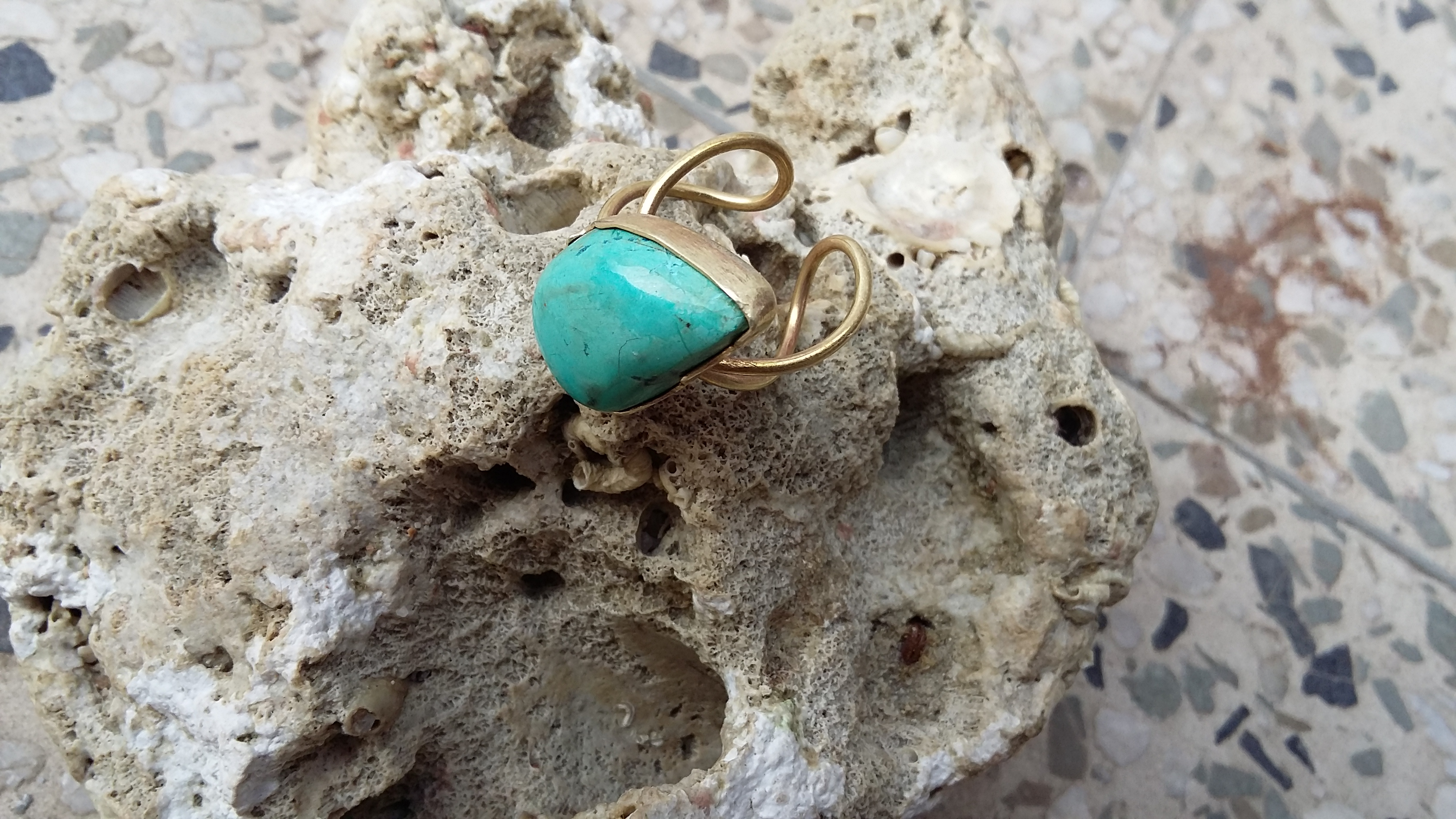 Turquoise GemStone Brass ring