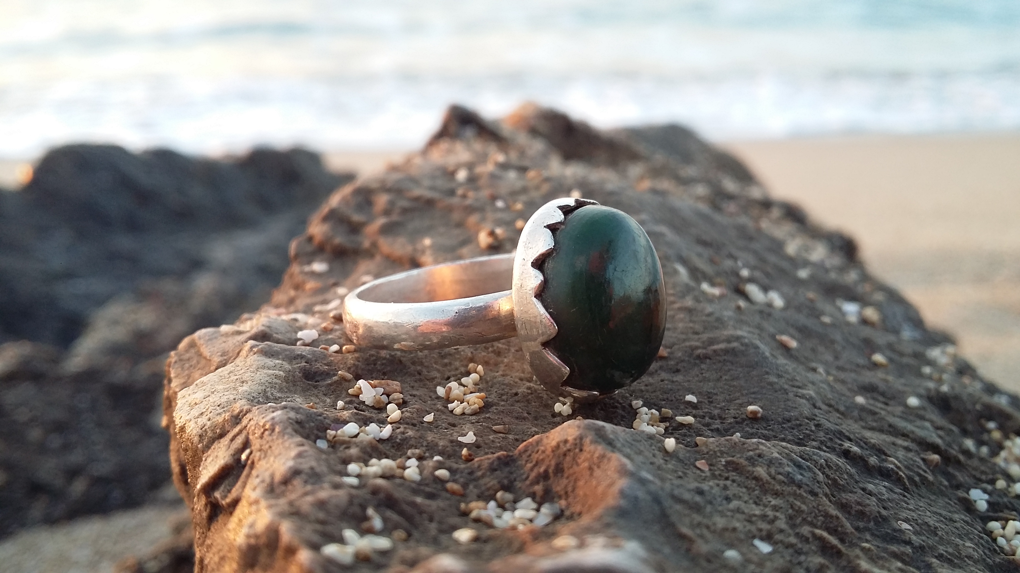 onyx Green Gemstone silver ring