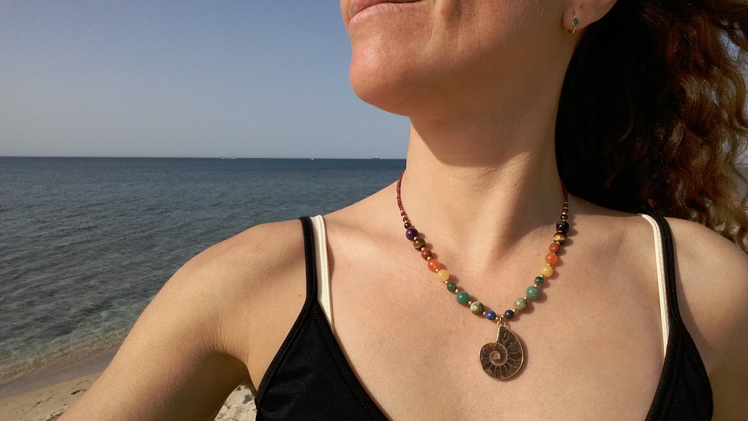 Chakra necklace Ammonite