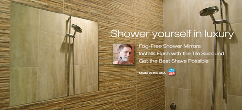 ... Shower ClearMirror Sits Flush With Your Bathroom Shower Tile Surround  For Shaving ...