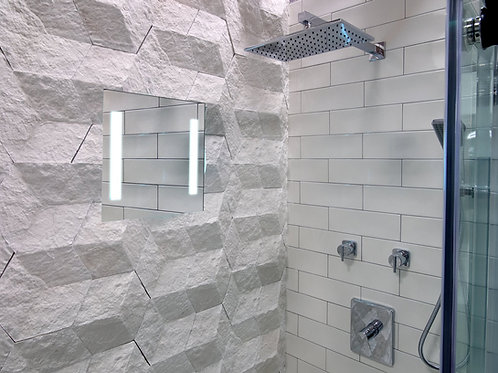 ShowerLite ClearMirror is a fog free and LED lighted mirror for shaving in the shower. Sits flush with your shower tile.