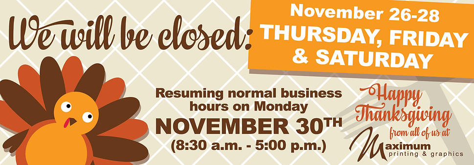 2020 Thanksgiving Hours