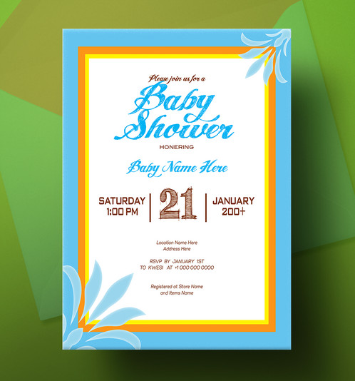 Blue And Yellow Frame Baby Shower Invitation Card Design