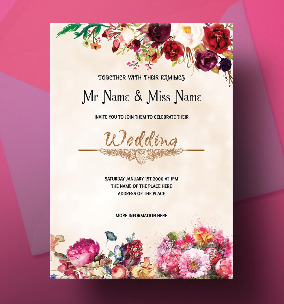Wedding Invitation Card Design: Colorful Flower Wedding Invitation Card Design