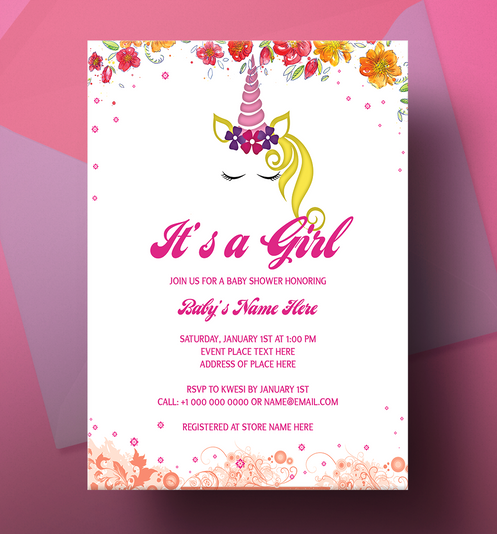 It S A Girl Unicorn Baby Shower Invitation Card Design