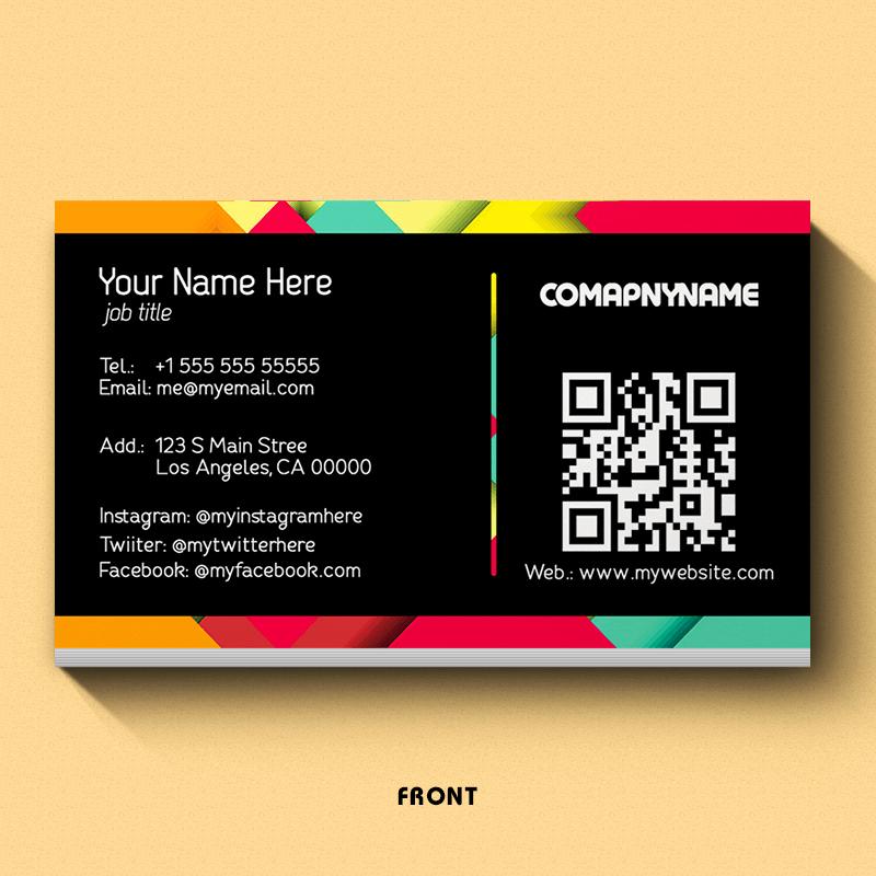 Square Tiles - QR Code Business Card Design