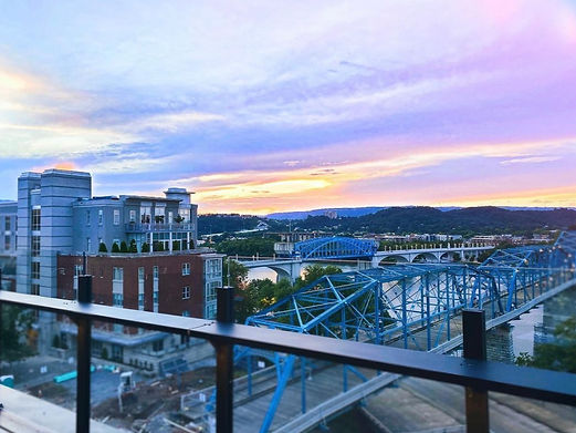 Chattanooga TN downtown riverfront walking bridge sunset Drip Chattanooga