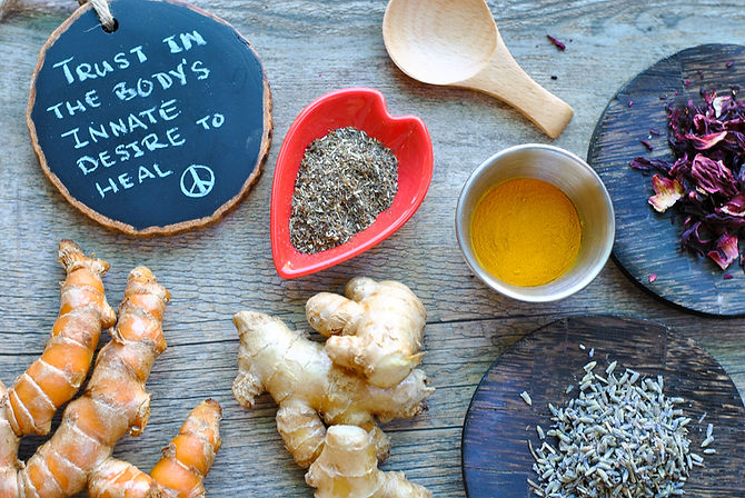 Rustic spread of healing roots and herbs