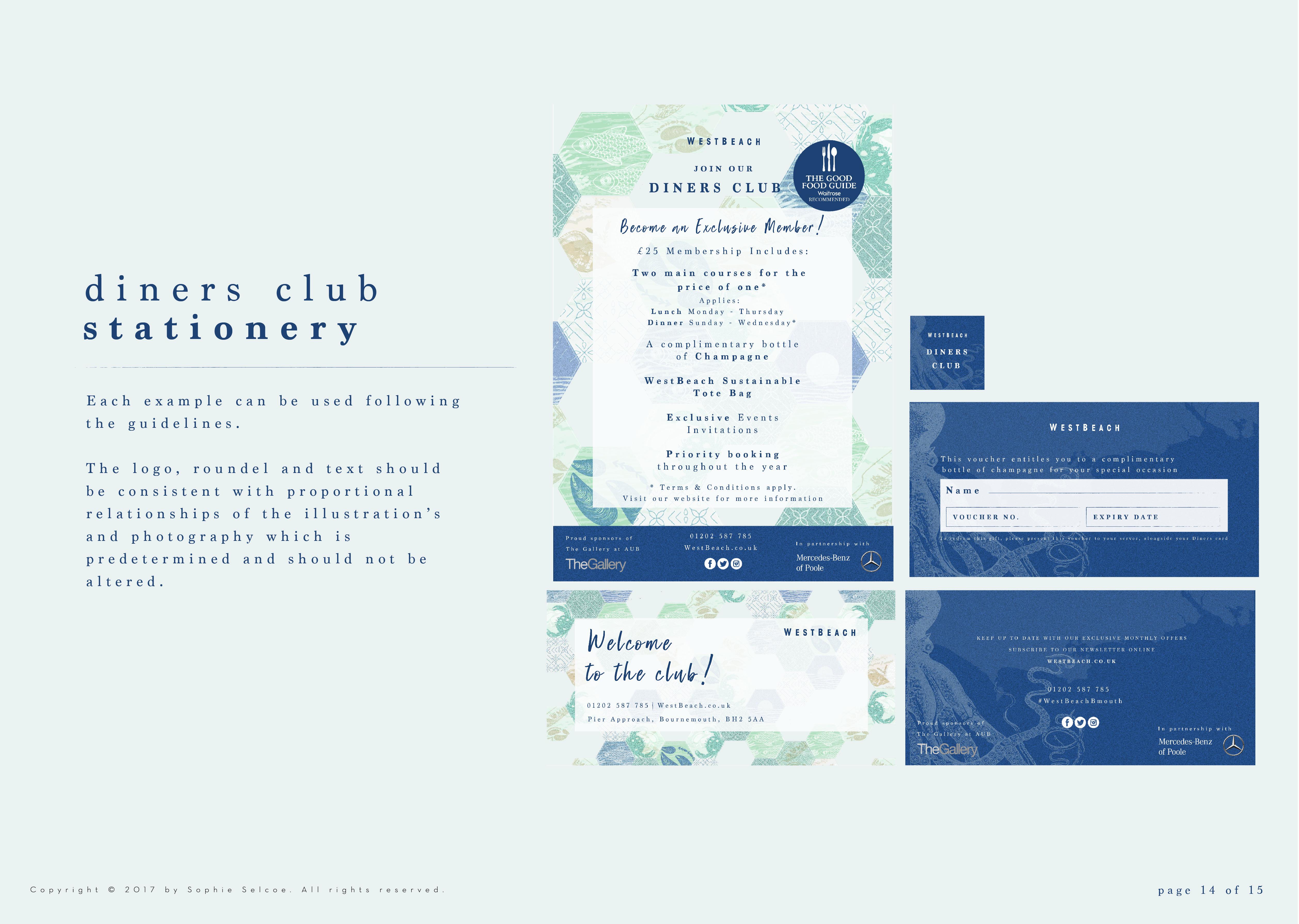 WestBeach Diners Club Stationery
