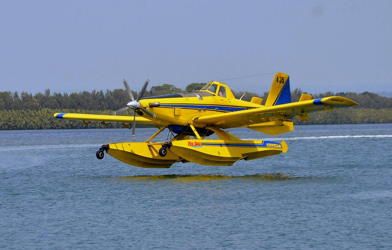 Air tractor over water