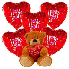 I Love You Teddy with Helium Balloon