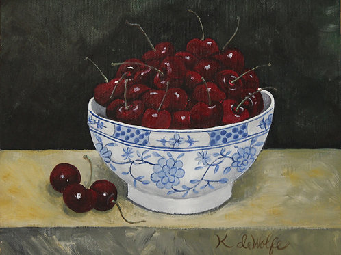 Cherries in Blue and White bowl