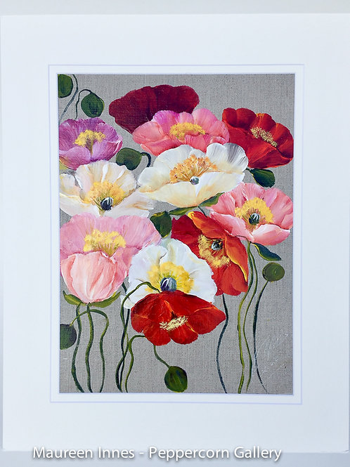 Iceland Poppies on Linen