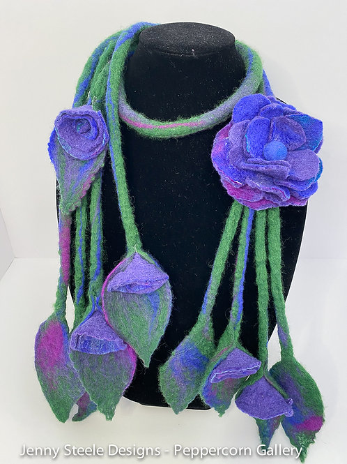 Rope Scarf with Purple Roses and Brooch
