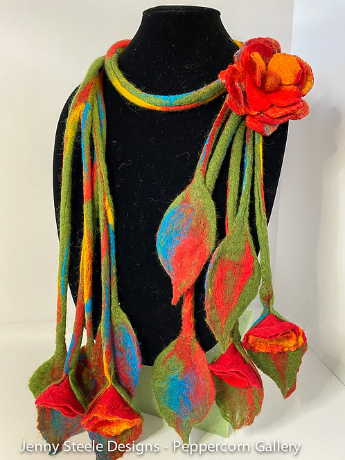 Rope Scarf - Red and Yellow
