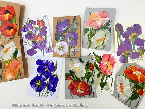 Hand Painted Cards - 4 pack