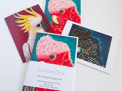 Set of 3 Australian Birds Cards