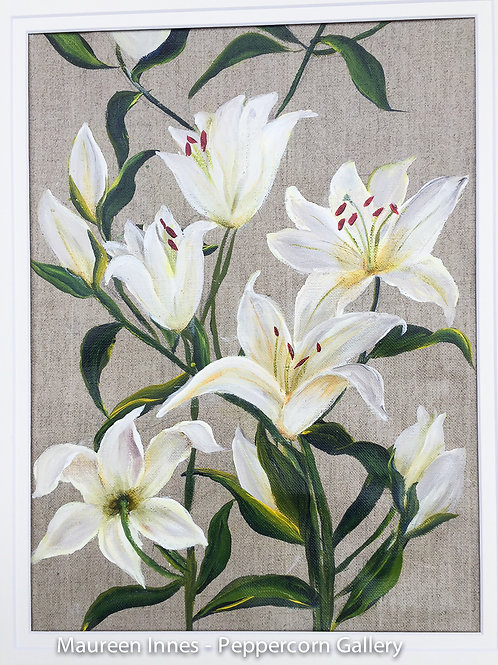 Lilies on linen