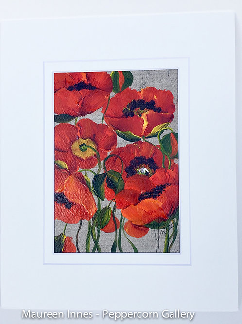 Red Poppies on Linen