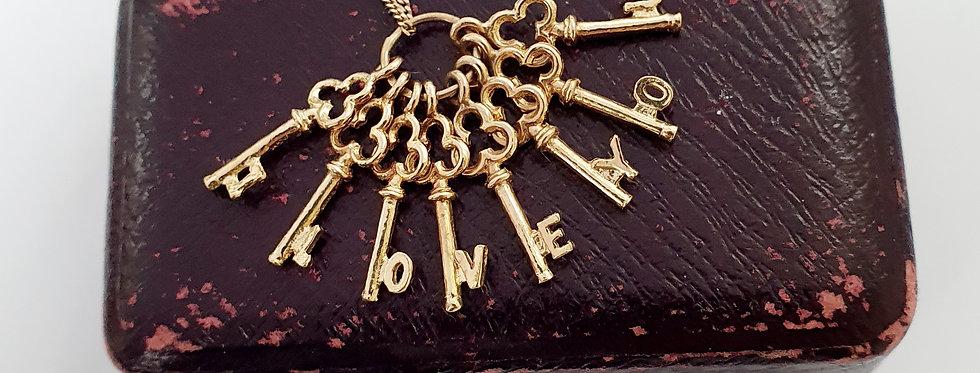 Vintage 9ct Gold I LOVE YOU Cluster of Keys Charm / Pendant.