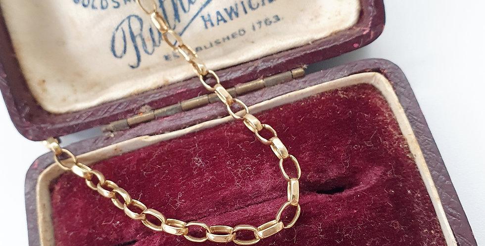 Vintage 9ct Gold Cable Chain Bracelet.