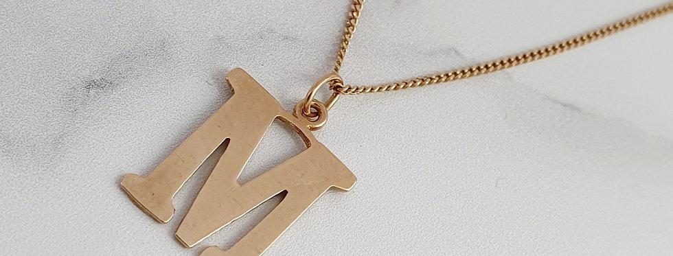 Vintage 9ct Gold M Initial Pendant