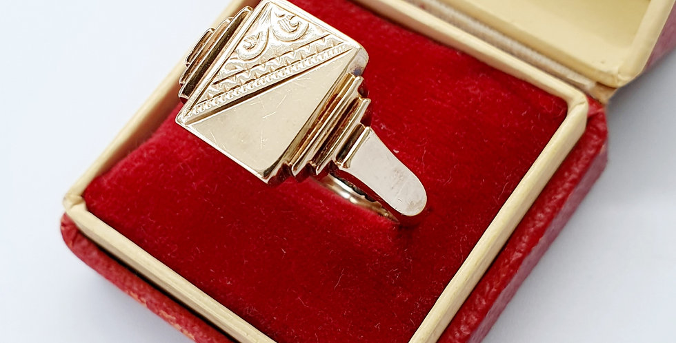Antique 9ct Gold Rectangle Signet Rin