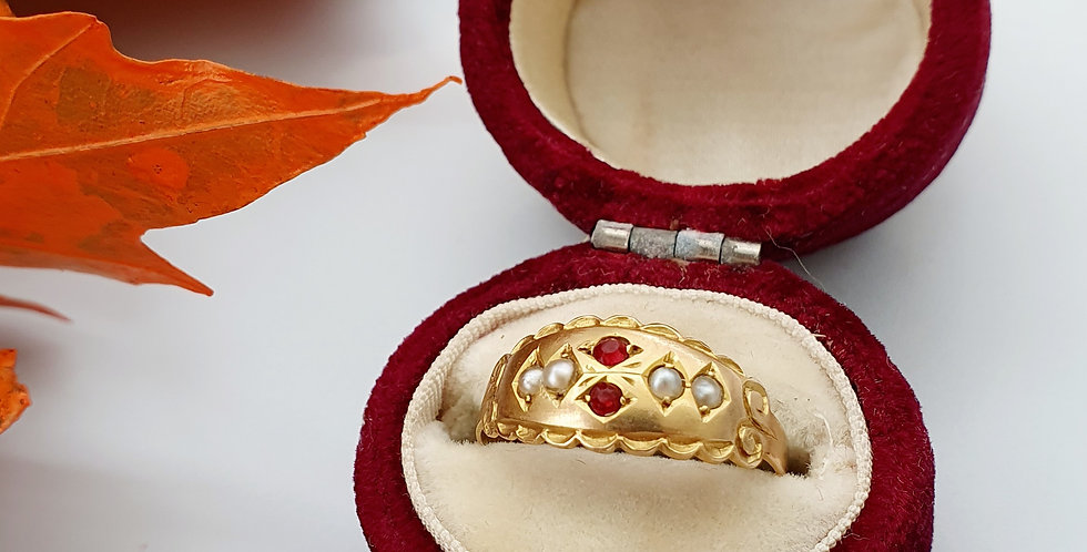 Edwardian 9ct Gold, Ruby & Seed Pearl Ring