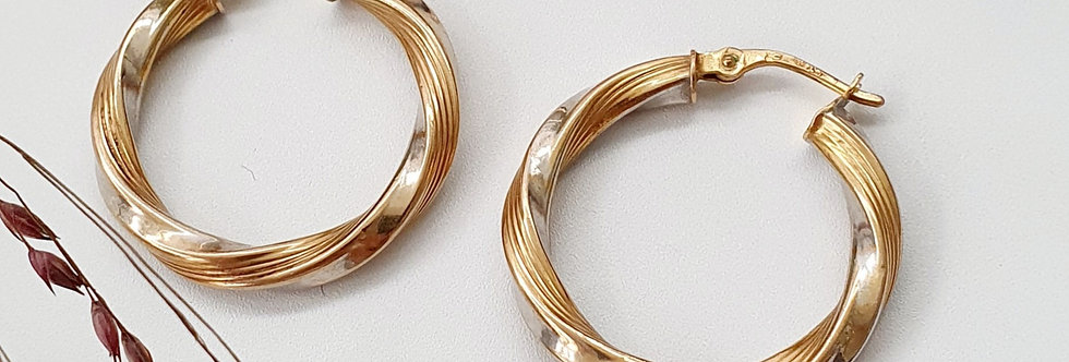 Vintage 9ct Yellow & White Gold Twist Hoop Earrings.