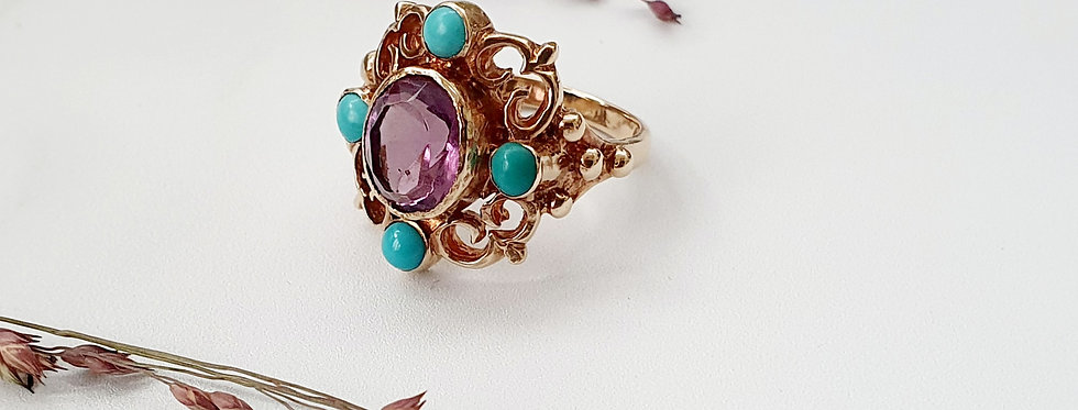 Vintage 9ct Gold, Amethyst & Turquoise Statement Ring