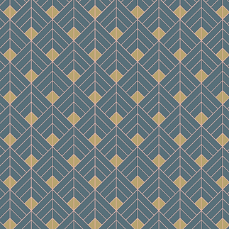 Blue and Gold Bordered Graphic Art Deco