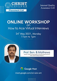 """Online Workshop on """"How to ace Virtual Interviews"""""""