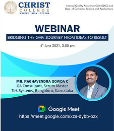 Webinar on Bridging the Gap: Journey from Ideas to Result.