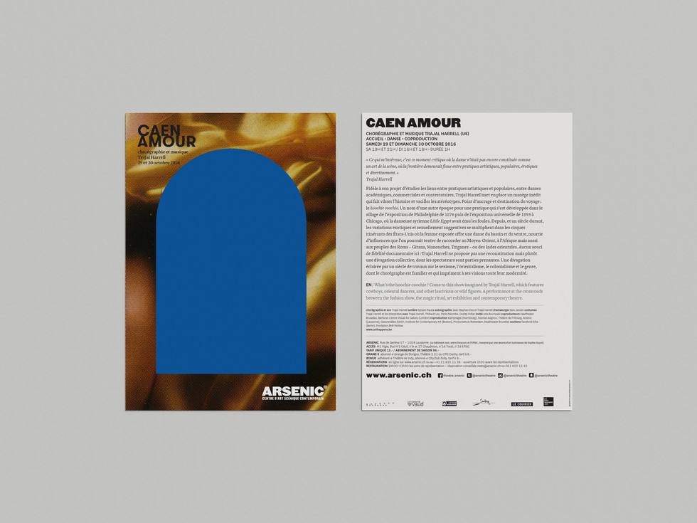 Arsenic, 2016 Poster and flyerDesign for L'Atelier Poisson, CH  Industries: Culture, Art