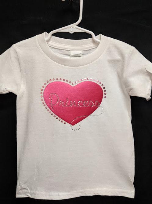 Princess Heart with Crystals Tee Shirt