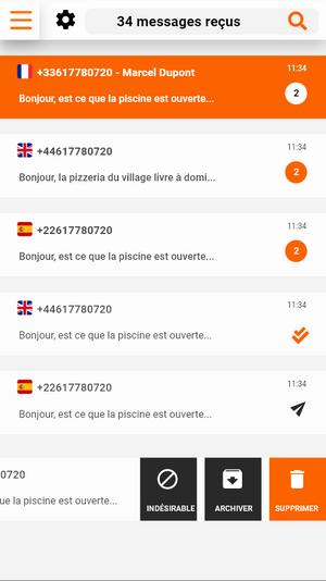 Boite de réception - version mobile