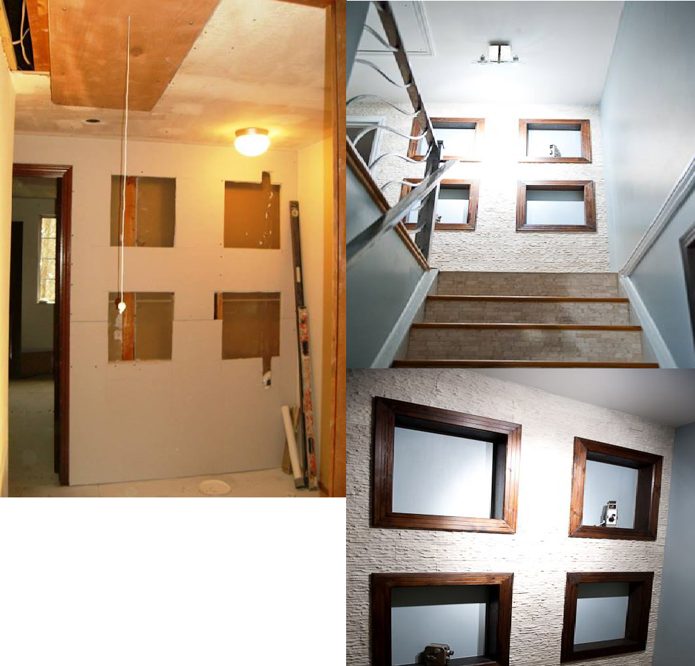 Top of stairs before and after
