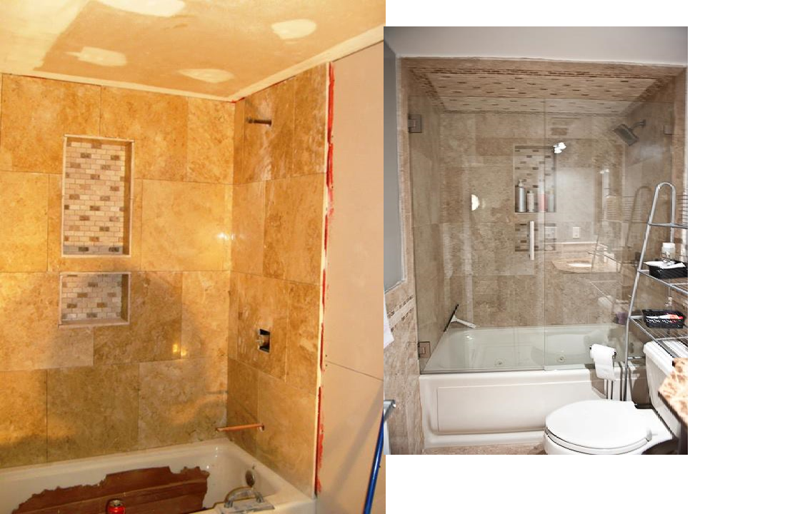 bathroom install and after