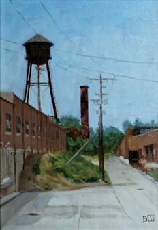 Brian Wilson Industrial Scene Oil on Boa