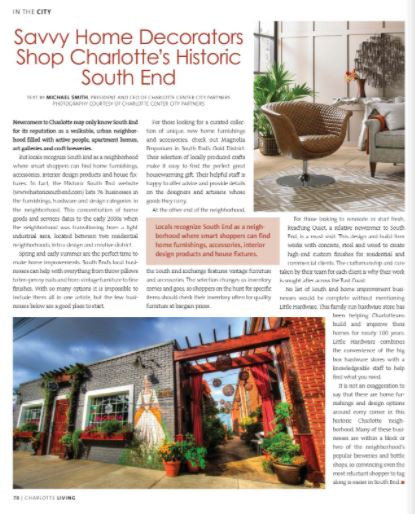 Charlotte Living Magazine features Magnolia Emporium
