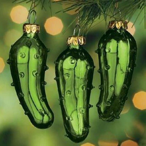 Christmas Pickle Glass Ornament w/card