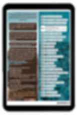 A picture of a tablet showing a Bible reading plan in two columns. One colums has Bible verses to read. The other colum has reflection questions.
