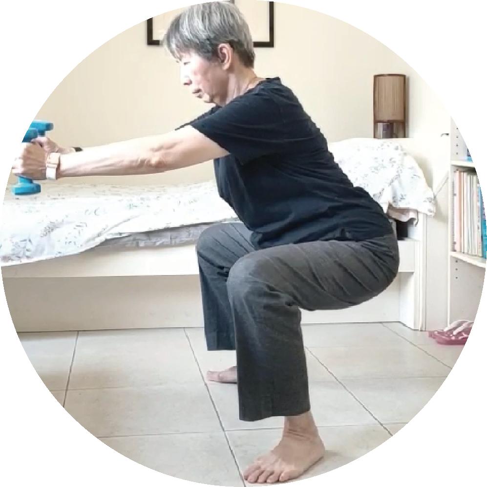 Step2|蹲下時臀部後推