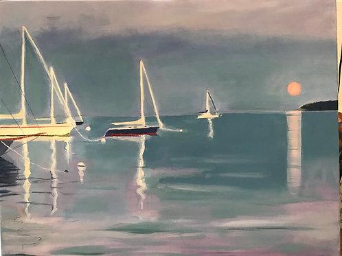 Full moon rising on Rockland Harbor by Mary Mraz