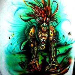 Airbrush auf T-Shirt_Jaguar Krieger_#DieAirbrusherei_Airbrush Bob Co