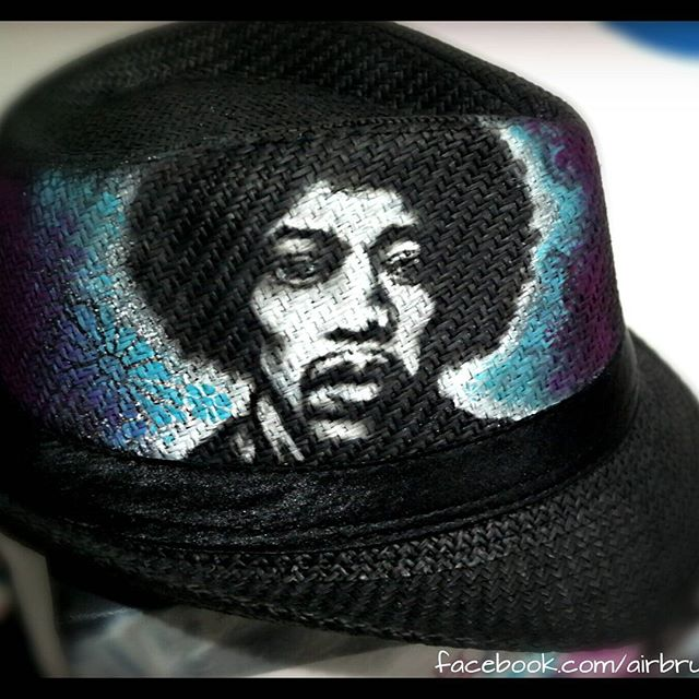 Airbrush auf Hut__Jimmy Hendrix__#DieAirbrusherei_Airbrush Bob Co