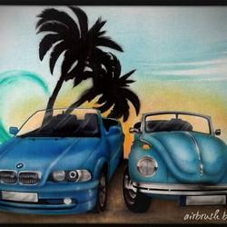 Airbrush auf T-Shirt_BMW und VW_#DieAirbrusherei_Airbrush Bob Co