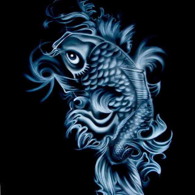 Airbrush auf T-Shirt_Einfarbig Koi-Fische_#DieAirbrusherei_Airbrush Bob Co